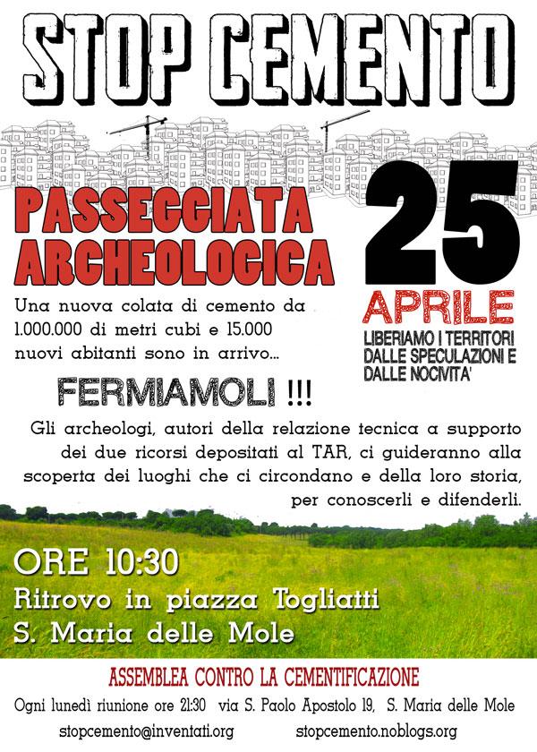 Locandina Passeggiata Archeologica - 25 aprile 2013 - ritrovo in piazza Togliatti - S.Maria delle Mole
