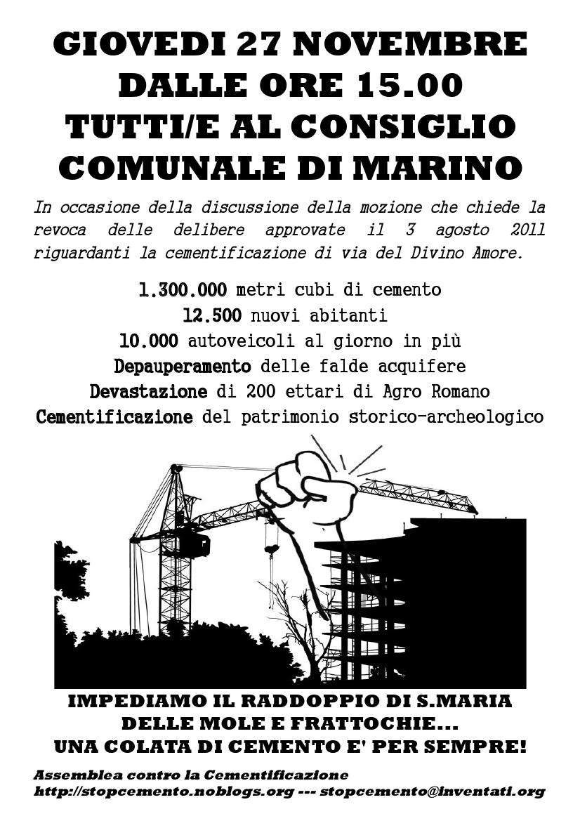 Locandina consiglio comunale di Marino del 27 novembre