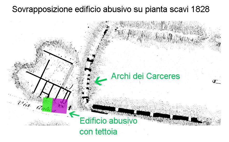 Fig. 1 - Sovrapposizione ultimo edificio su vestigia della pianta archeologo Fea