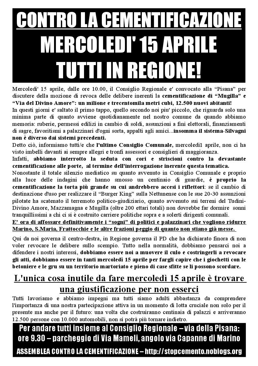Volantino per Consiglio Regionale del 15 aprile 2015